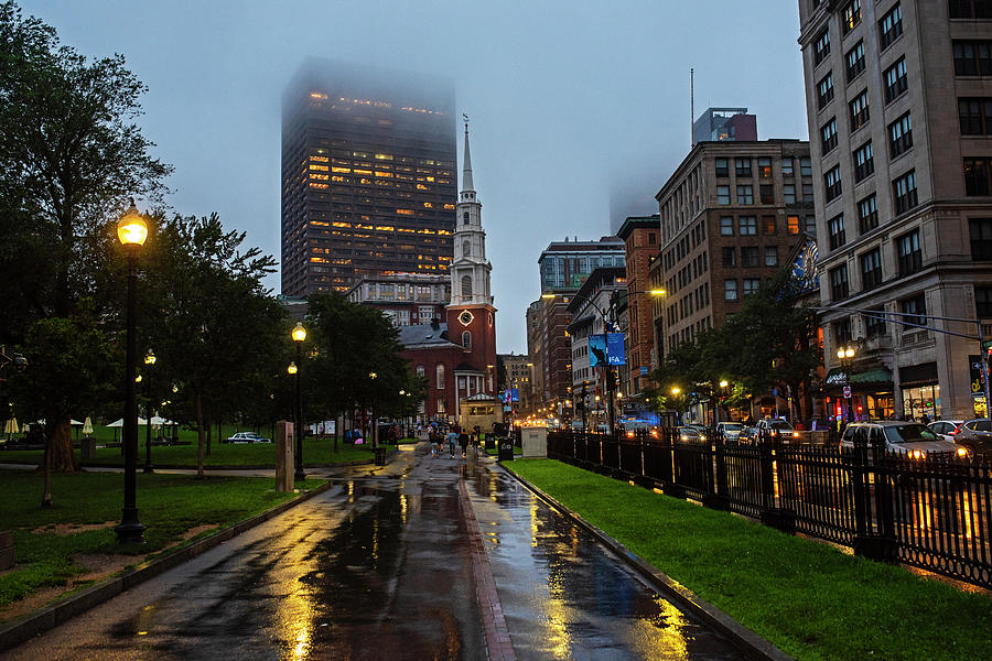 Rainy Day on the Boston Common Boston MA Tremont Street Park Street Church by Toby McGuire