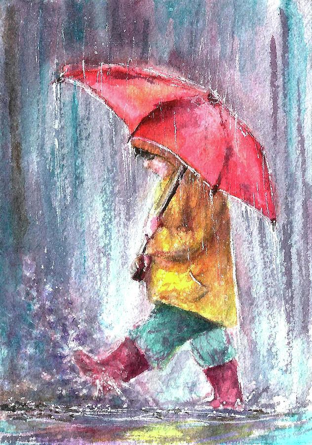 Boy Painting - Rainy night streets by Natalja Picugina