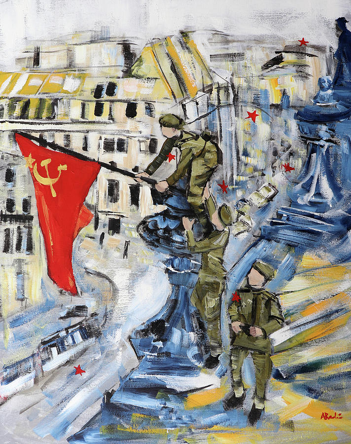 Soldiers Painting - Raising a Flag over the Reichstag 3 after Yevgeney Khaldey by Alyse Radenovic