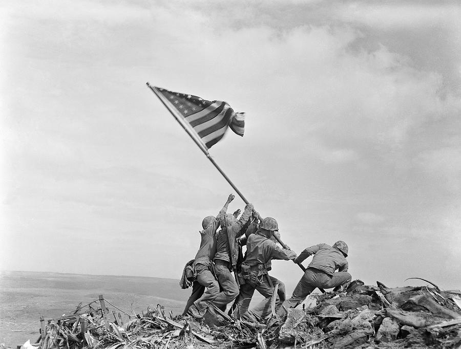 Iwo Jima Photograph - Raising the Flag on Iwo Jima - WW2 - 1945 by War Is Hell Store