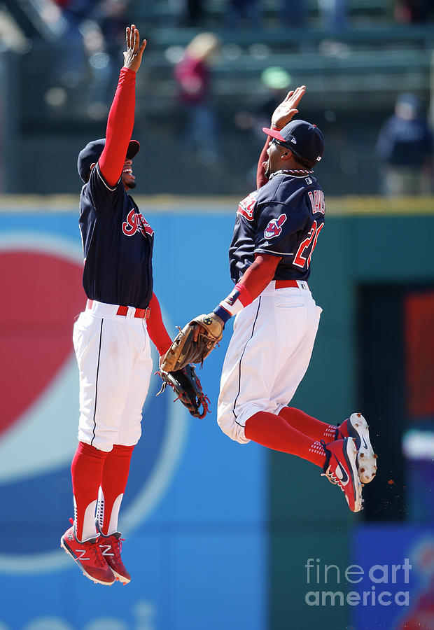 Rajai Davis and Francisco Lindor Photograph by Ron Schwane