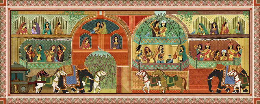Rajput Painting - Ragamala - Traditional Indian Painting Depicting Celebration - Rajasthani Art Mixed Media