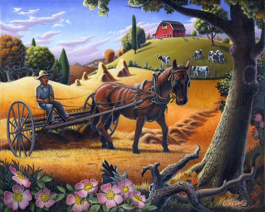 Raking Hay Painting - Raking Hay Field Rustic Country Farm Folk Art Landscape by Walt Curlee