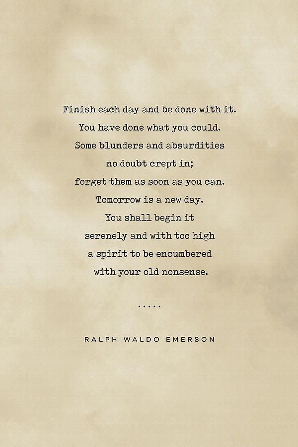 Ralph Waldo Emerson Quote 01 - Typewriter Quote On Old Paper - Literary Poster - Book Lover Gifts Mixed Media