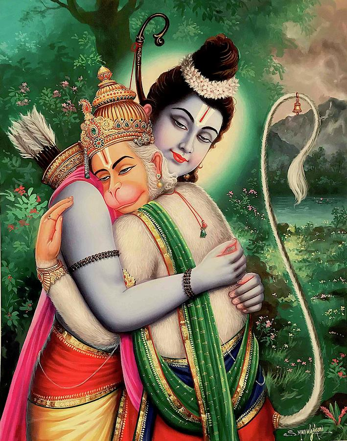 Rama and Hanuman Painting by Vijayann Rajasabai
