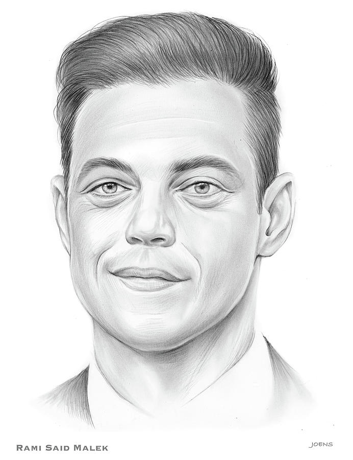 Actor Drawing - Rami Malek - Pencil by Greg Joens