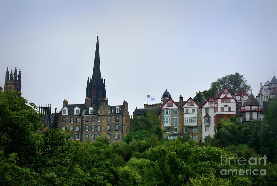 Ramsay Garden and Patrick Geddes Hall from Princes Street, Edinburgh by Yvonne Johnstone