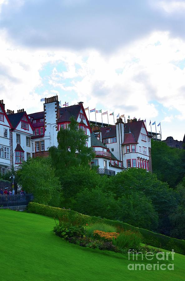 Ramsay Garden from The Mound, Edinburgh by Yvonne Johnstone