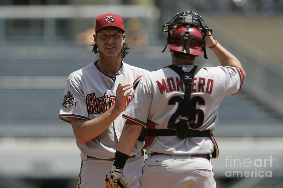 Randy Johnson and Miguel Montero Photograph by John Grieshop