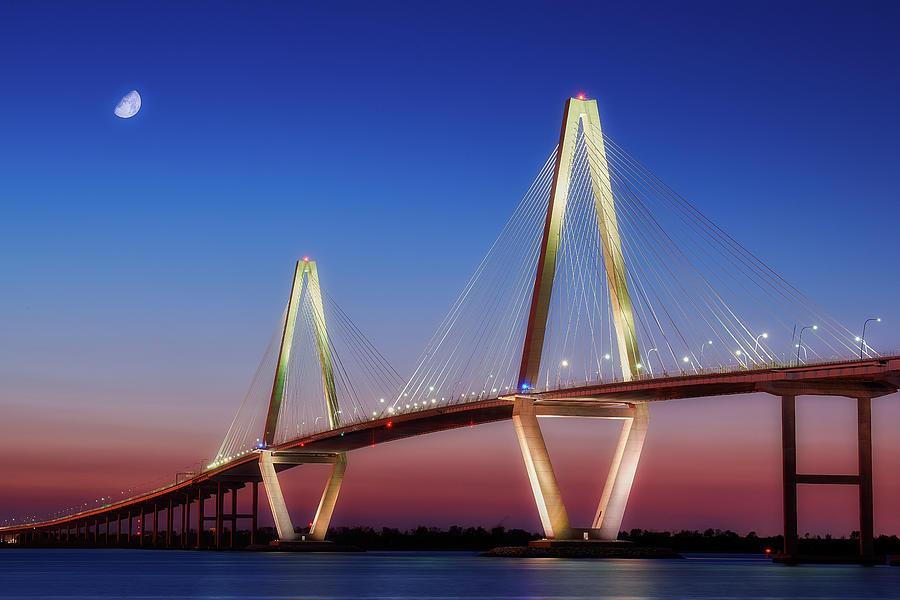 Ravenel Bridge At Night Photograph