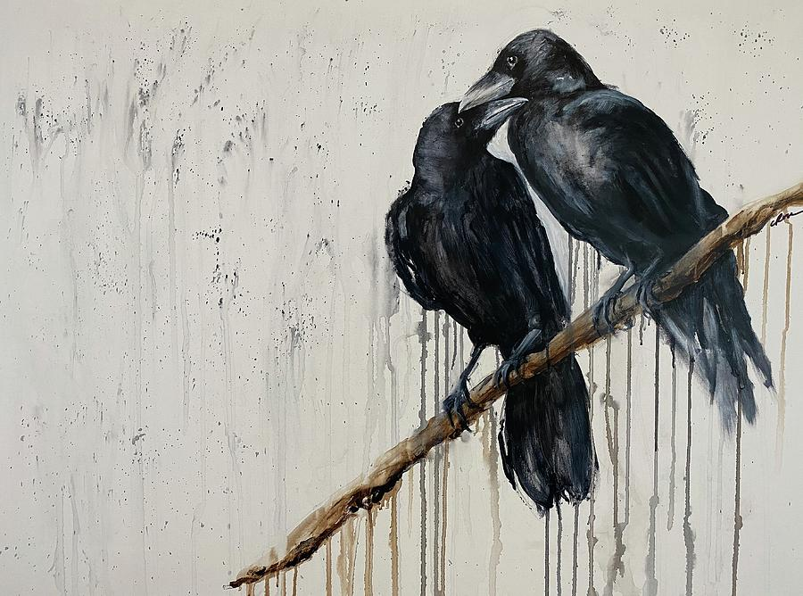 Corvid Painting - Ravens in Love by Christine Marie Rose