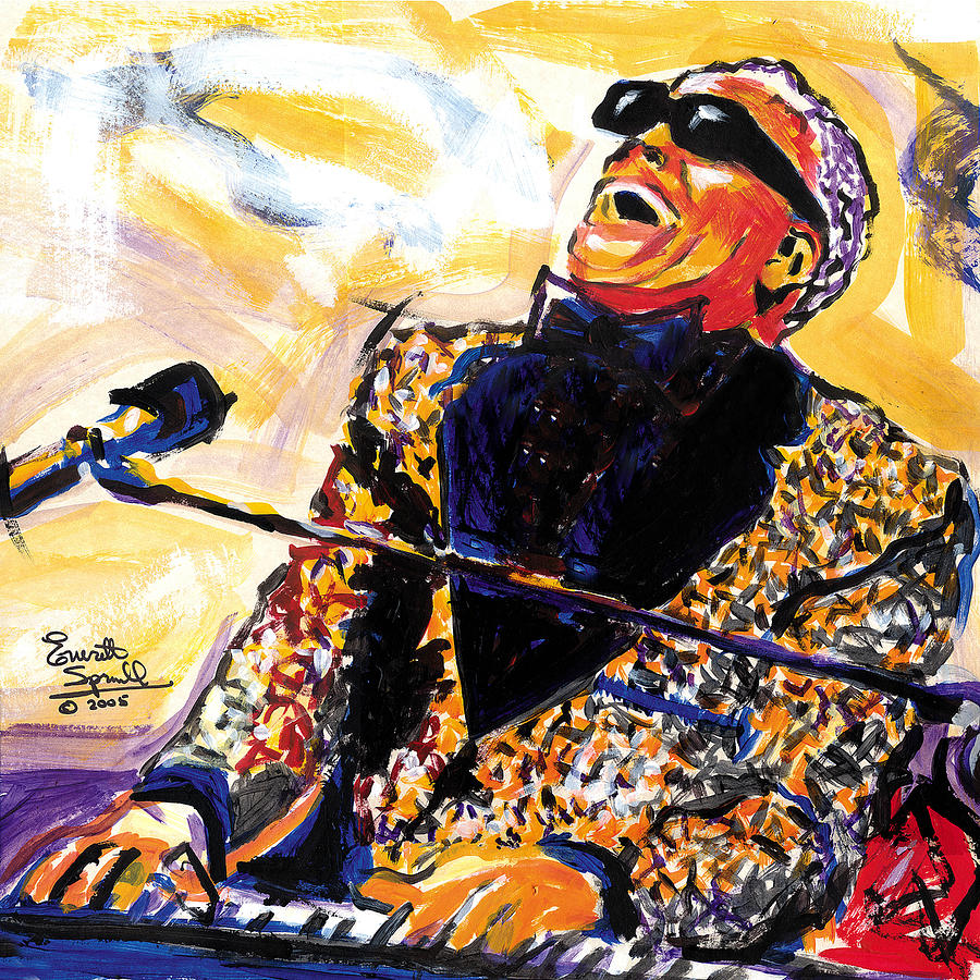 Cubism Painting - Ray Charles by Everett Spruill
