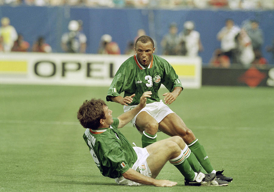 Ray Houghton with Terry Phelan after scoring the winning goal Photograph by Inpho Photography