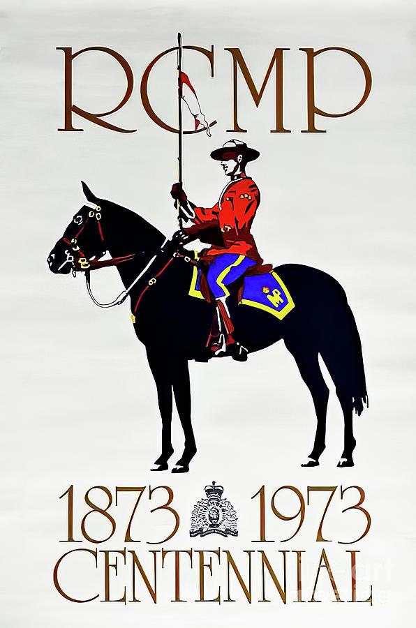 Rcmp Musical Ride Centennial Poster 1973 Drawing