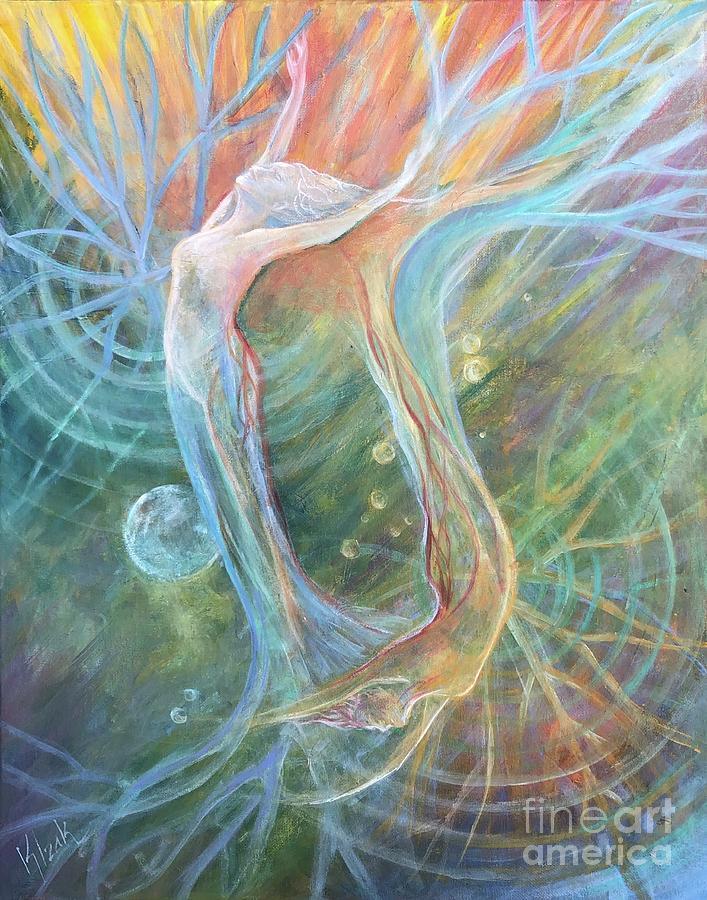 Acrylic Painting - ReachingRooting by Kristine Izak