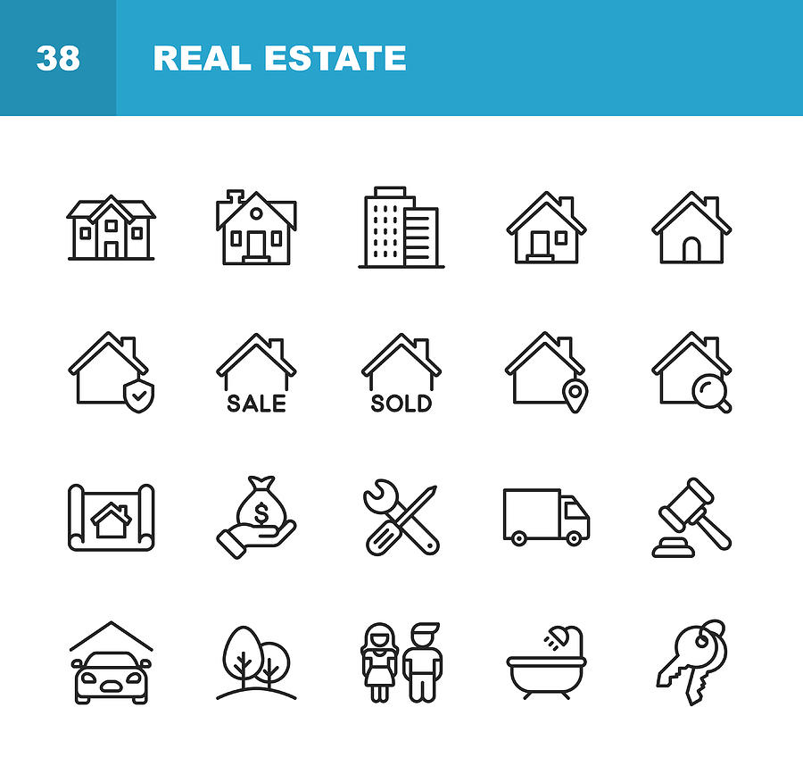 Real Estate Line Icons. Editable Stroke. Pixel Perfect. For Mobile and Web. Contains such icons as Building, Family, Keys, Mortgage, Construction, Household, Moving, Renovation, Blueprint, Garage. Drawing by Rambo182