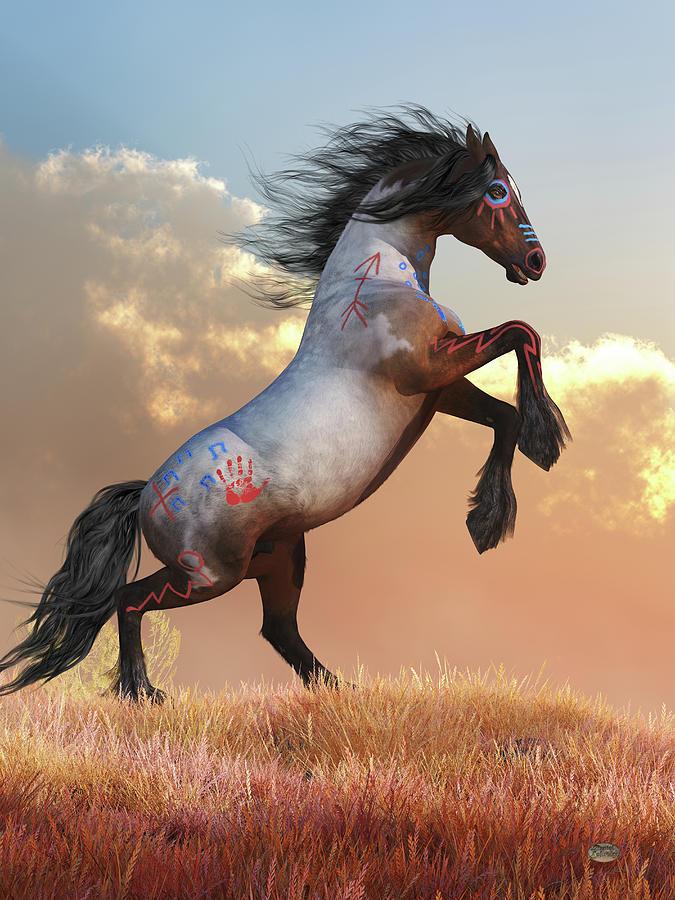 Rearing War Horse Digital Art