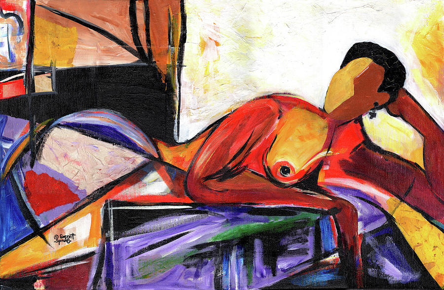 African Mask Mixed Media - Reclining Nude by Everett Spruill