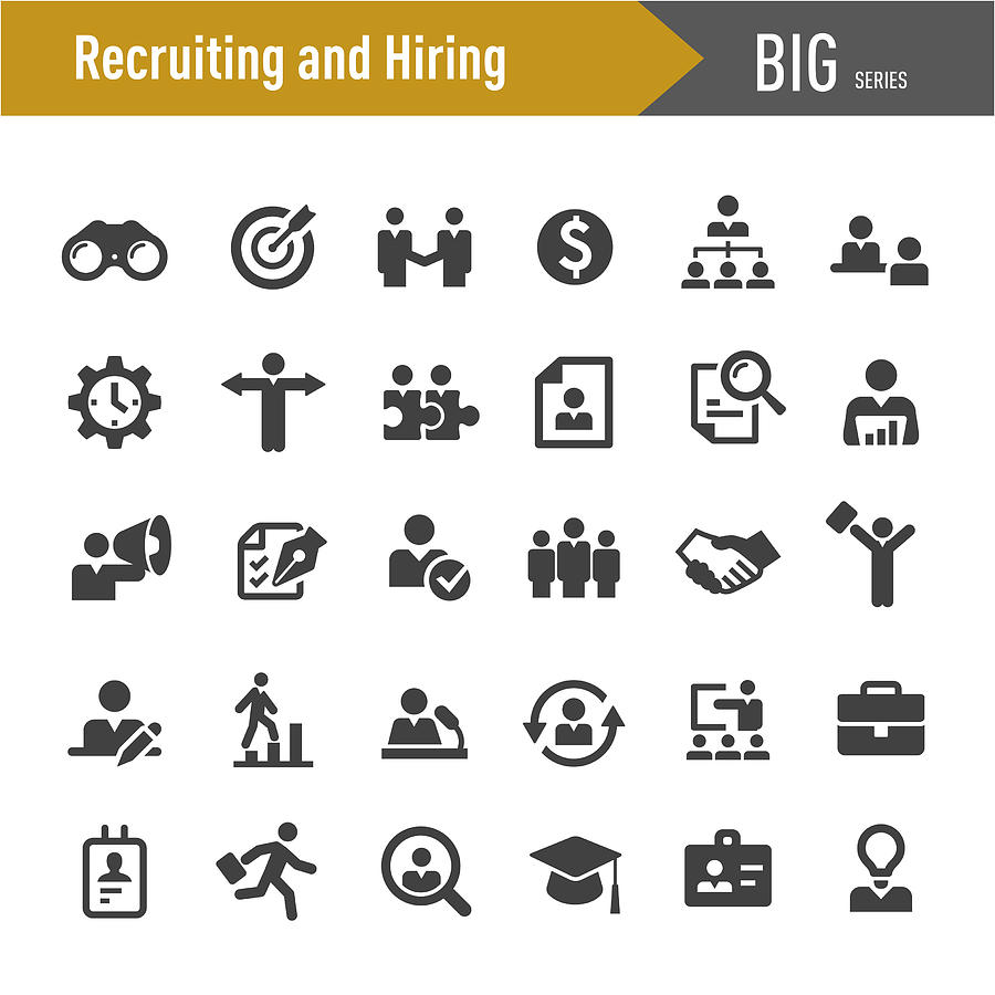 Recruiting and Hiring Icons - Big Series Drawing by -victor-