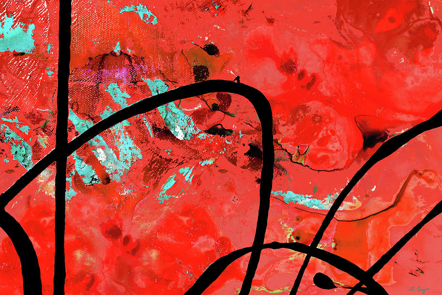 Abstract Painting - Red Abstract Art - On Time - Sharon Cummings by Sharon Cummings