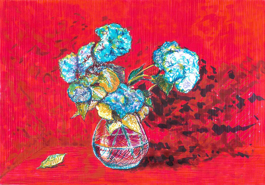 Hydrangeas Drawing - Red Afternoon by Eima BLANK