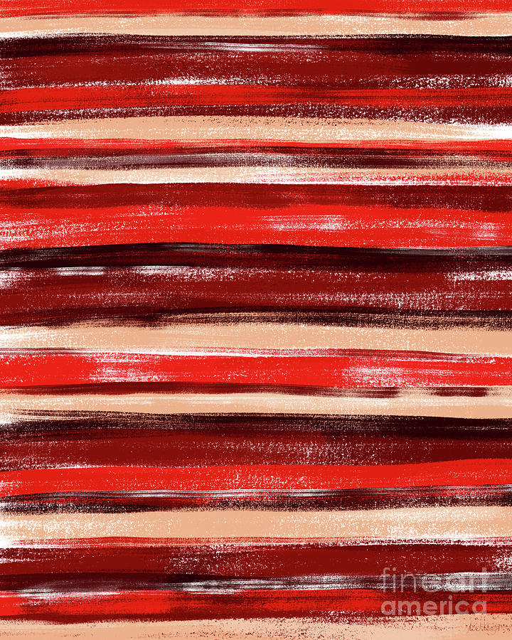 Colorful Stripes Digital Art - Red and Peach Pastel Stripe Pattern Abstract by LJ Knight