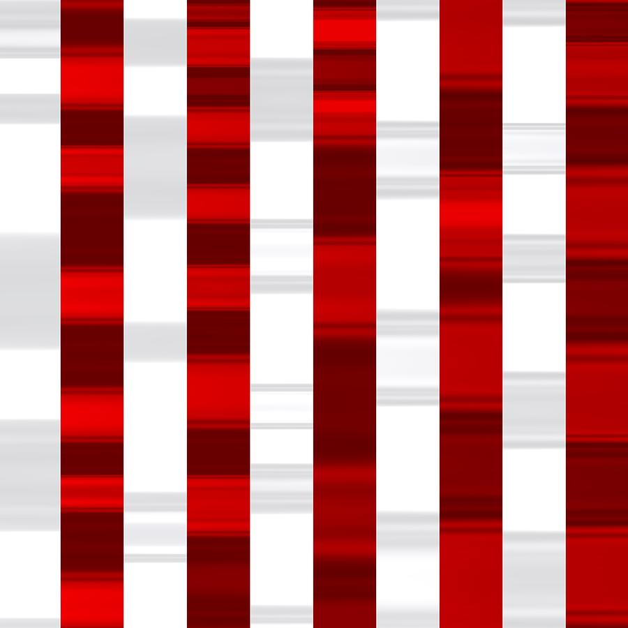 Red And White Sportive Waves Striped Digital Art