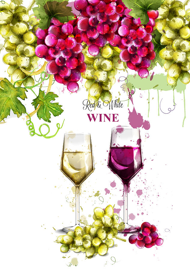 Red And White Wine by Miki De Goodaboom