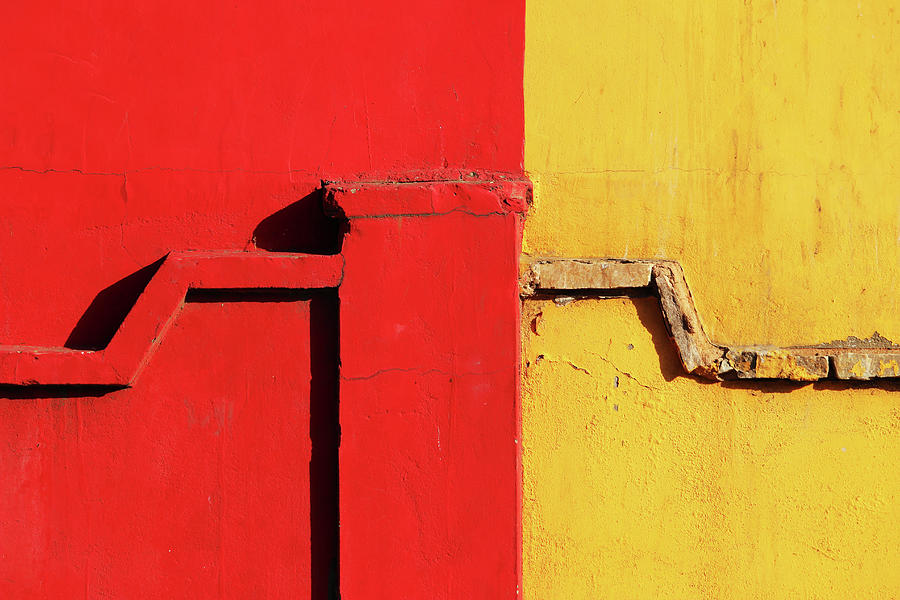 Color Combination Photograph - Red and Yellow Wall with Pattern by Prakash Ghai