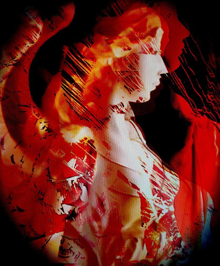 Fantasy Digital Art - Red Angel by Gunilla Munro Gyllenspetz