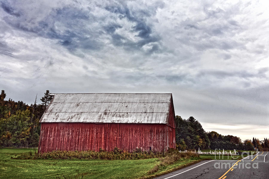 Red Barn Photograph - Red Barn And Country Cemetery by Catherine Sherman