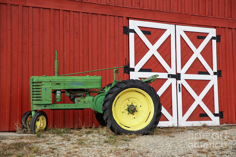 Red Barn Green Tractor by Lynn Sprowl