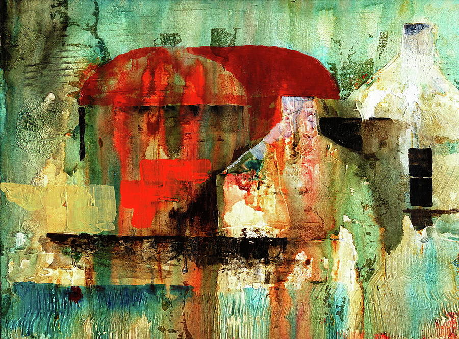 Red Barn in the Farm by Val Byrne