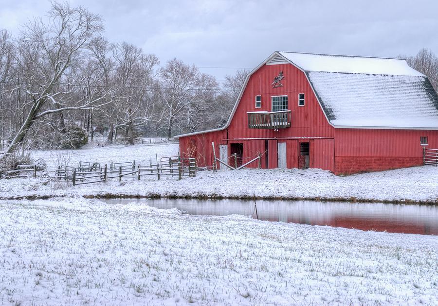 Barn Photograph - Red Barn in the Snow by Douglas Barnett