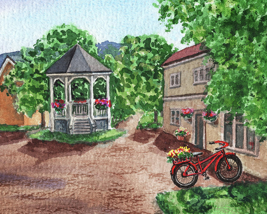 Red Bicycle In The Garden With Gazebo Watercolor Painting