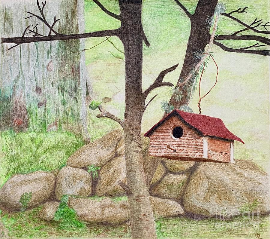 Red Bird House Drawing