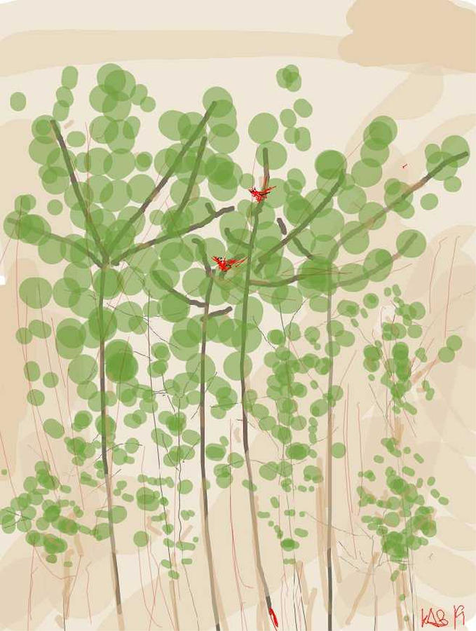 Red Birds in A bubble Tree 2 by Kathy Barney