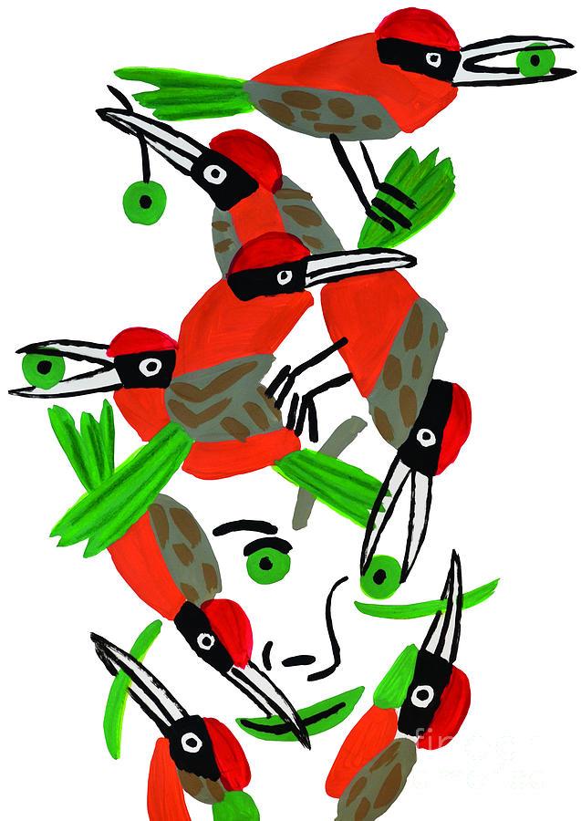 Red Drawing - Red Birds by Wolf-Dieter Pfennig