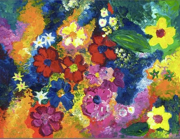 Flowers Painting - Red Bright Flowers by Britt Miller