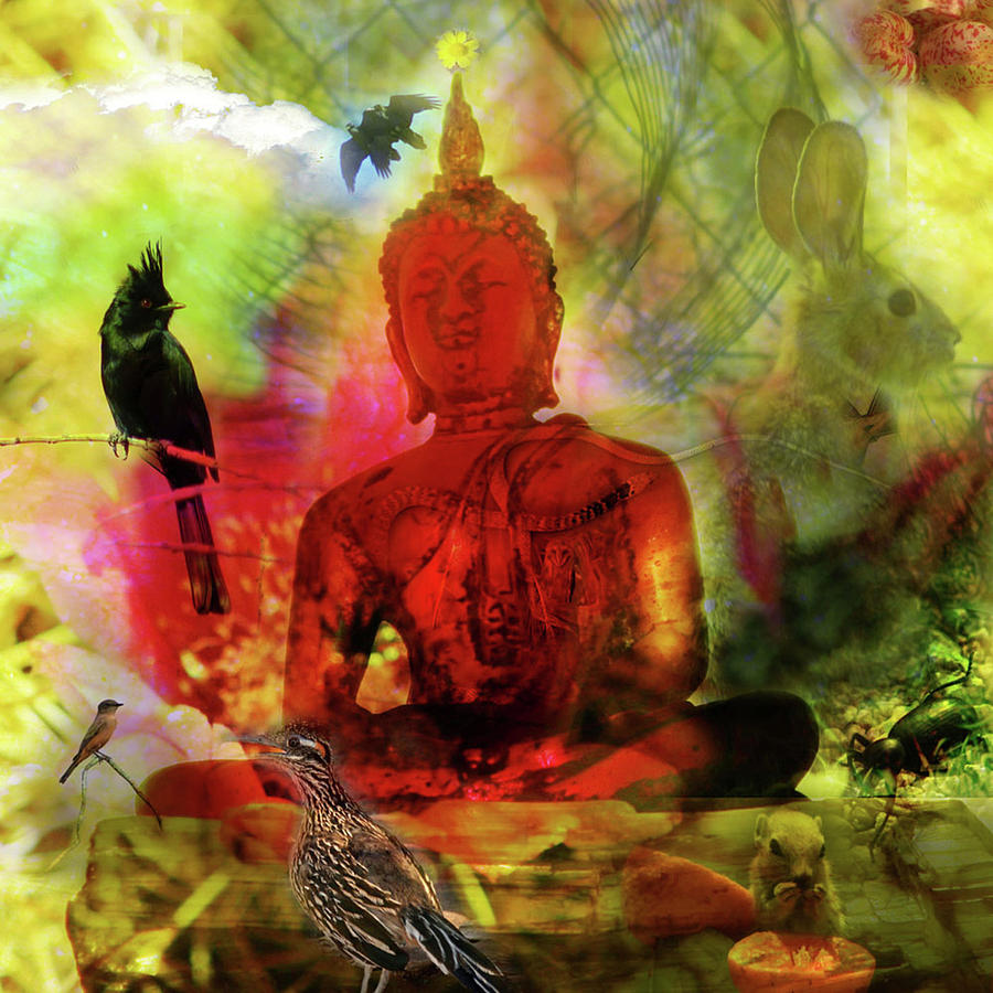 red buddha with birds by Perry Hoffman