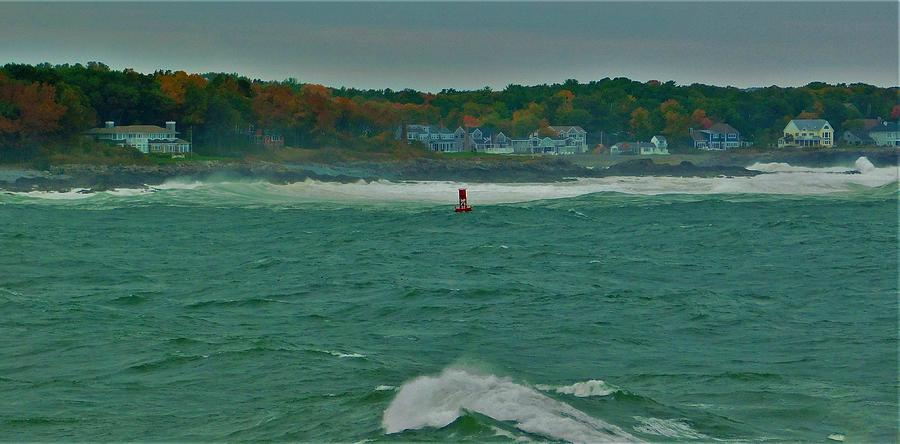 - Red  Buoy - York Me Photograph by - Theresa Nye