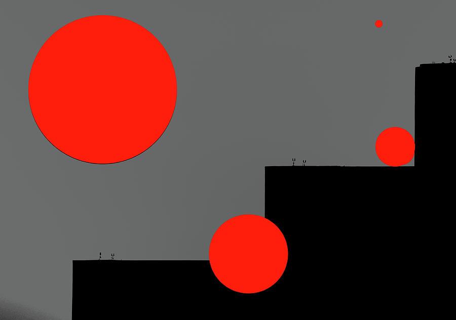 Red Circles And Black Angles Mixed Media
