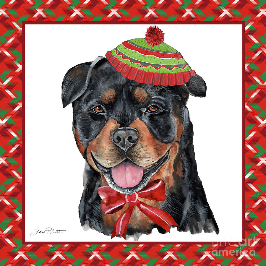 Dog Painting - Red Cxhristmas Plaid With Dog E by Jean Plout