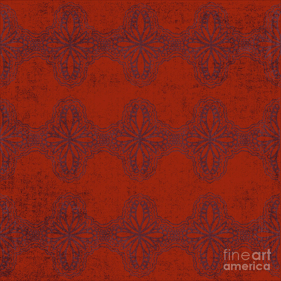 Red Damask Digital Art