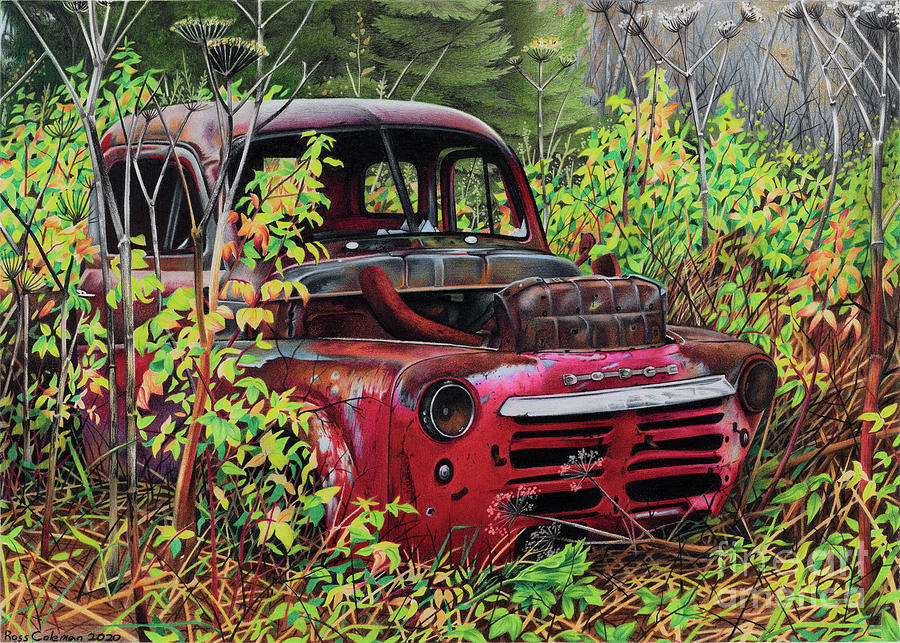 Red Dodge Drawing by Ross Coleman