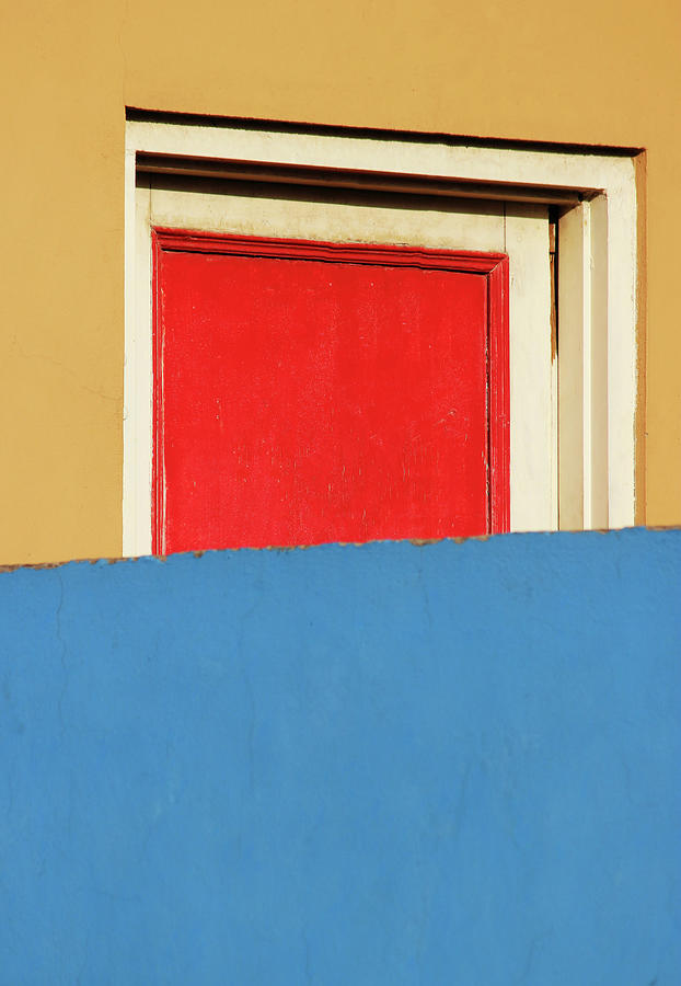 Red Door Photograph - Red Door and Colored Walls by Prakash Ghai