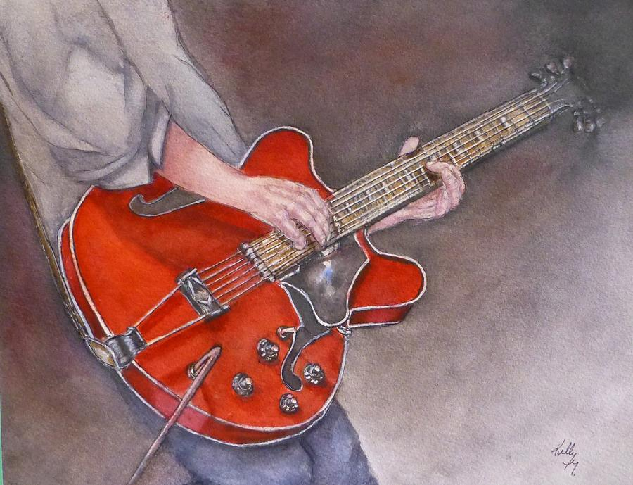 Red Electric Guitar by Kelly Mills