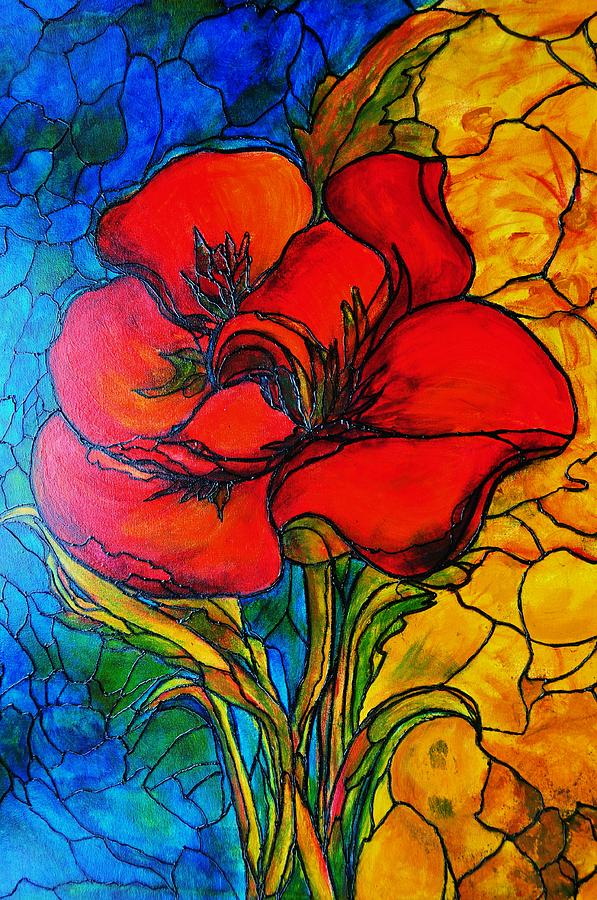 Flower Painting - Red Flower by Rae Chichilnitsky