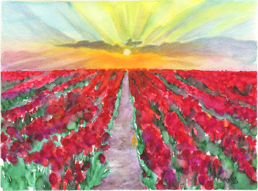 Red-flowered Field At Sunrise Painting