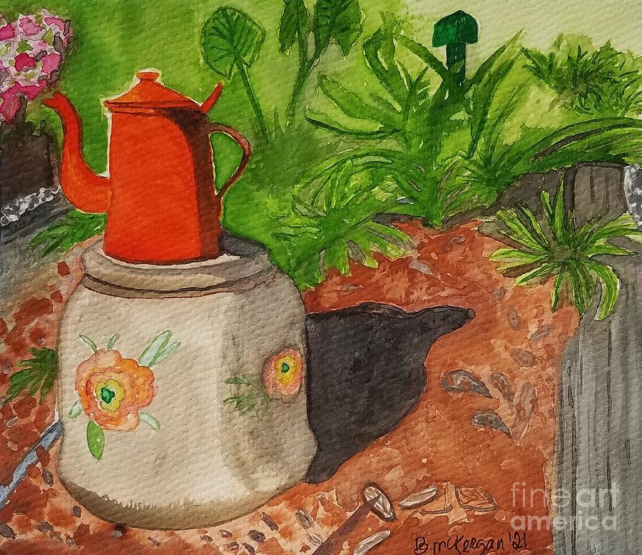 Garden Painting - Red Garden Teapot by Bonnie McKeegan